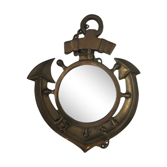 Image of Vintage Brass Anchor Mirror