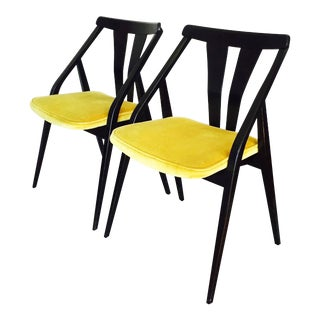 Mid-Century Black & Yellow Side Chairs - A Pair