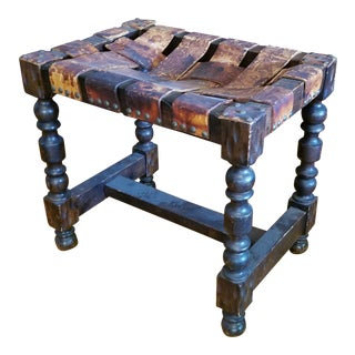 Carved Stool with Woven Leather