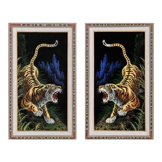 Bengal Tiger Vintage Black Velvet Paintings - A Pair