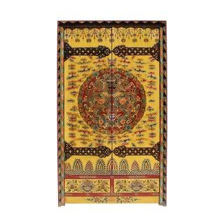 Chinese Tibetan Dragon Flower Armorie Wardrobe Cabinet