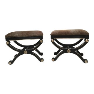 Pair Neoclassic Contemporary Stools in Black, Silver, and Leopard