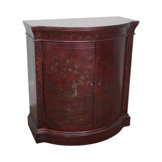 Ethan Allen Chinoiserie Crackle Painted 2 Door Demilune Console