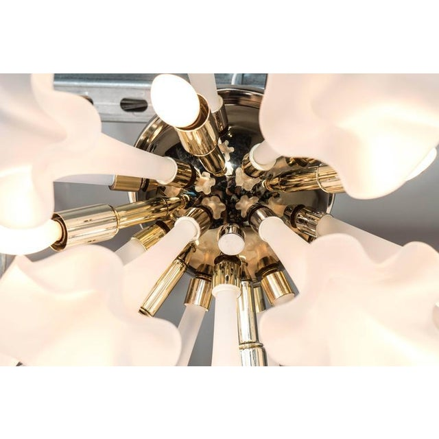 Handblown Flush Mount Murano Chandelier in Brass with Frosted Glass Flowers - Image 8 of 9