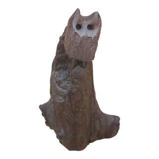 Ceramic Owl on Natural Driftwood Figure
