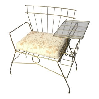 Mid-Century Metal Chair With Attached Table Rack