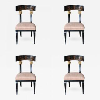 Set of Four Baltic Neoclassic Ebonized and Penwork Klismos Chairs