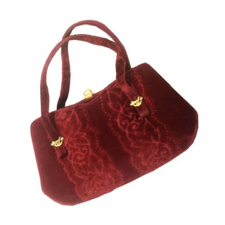 Plush Wine Carved Velvet Handbag 1960s