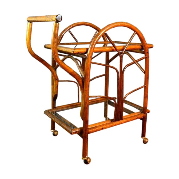 Hollywood Regency Rattan Rolling Drink Cart - Image 1 of 6