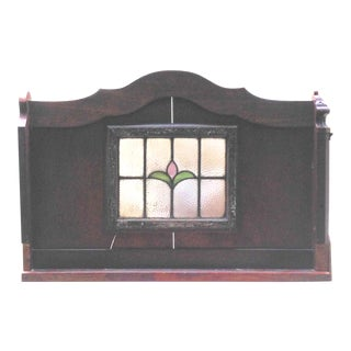 Architectural Salvage Stained Glass Wood Topper