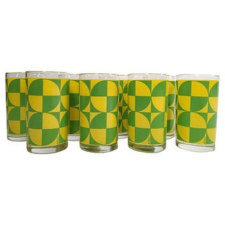 Green & Gold Cocktail Glasses - Set of 8
