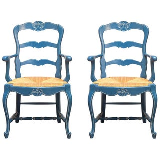 French Blue Carved Ladder Back Chairs - A Pair