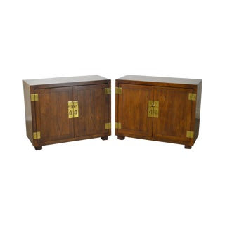 Henredon Campaign Style 2 Door Cabinets - A Pair