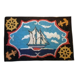 American Folk Art Nautical Hooked Rug