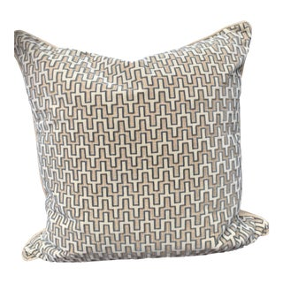 A Pair of Kravet Couture Linen & Raised Cut Velvet Pillow Covers