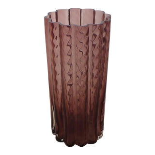 Mid Century Rippled Purple Molded Glass Vase
