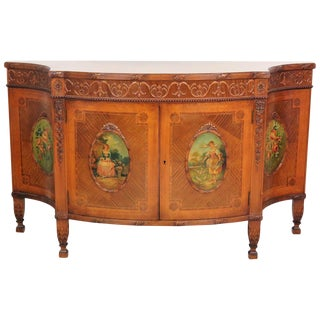 Adams Style Paint Decorated Inlaid Commode