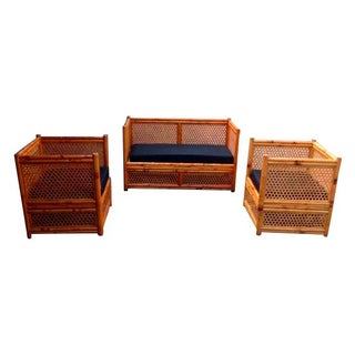 Vintage Rattan Sofa Set - Set of 3