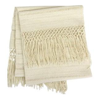 Oaxaca Cotton Woven Cream Tassel Table Runner