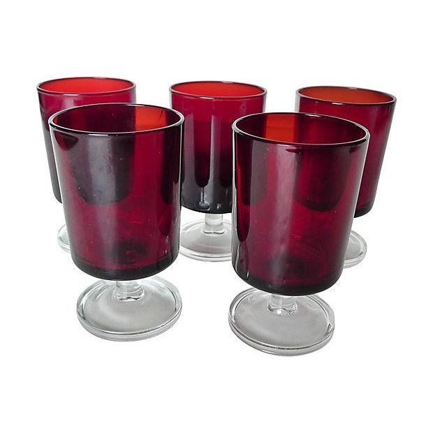 1960's Cranberry Glass Cordial Glasses - Set of 5 - Image 1 of 5