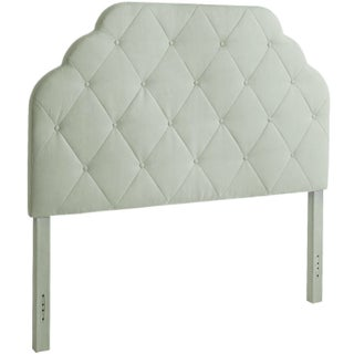 Queen Sized Headboard, Seafoam Upholstery