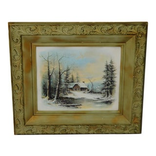 Victorian Gesso Framed William Henry Chandler Winter Scene Print