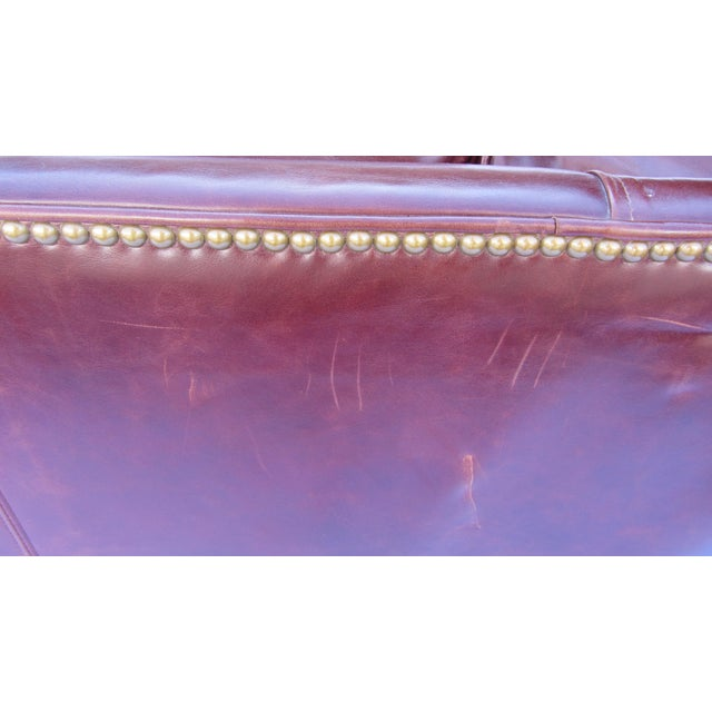 Pearson Chestnut Leather Sofa with Brass Nailhead Trim - Image 6 of 8