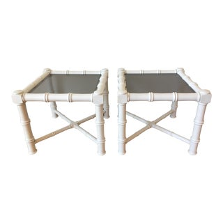 Vintage White Faux Bamboo Side Tables - A Pair