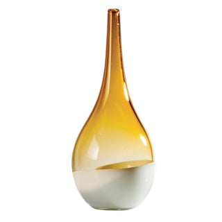 Teardrop Amber & White Glass Vase