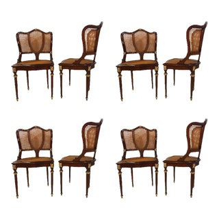 Fine Bronze-Mounted Louis XVI Style Dining Chairs Manner of Jansen - Set of 8