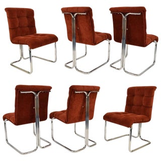 Set of Six Chrome Frame Chairs by Daystrom