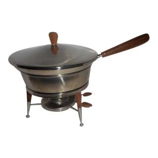 Mid-Century Walnut Tripod Chafing Dish