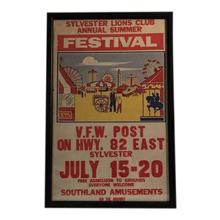 Vintage Sylvester Lions Club Annual Summer Festival Circus Poster