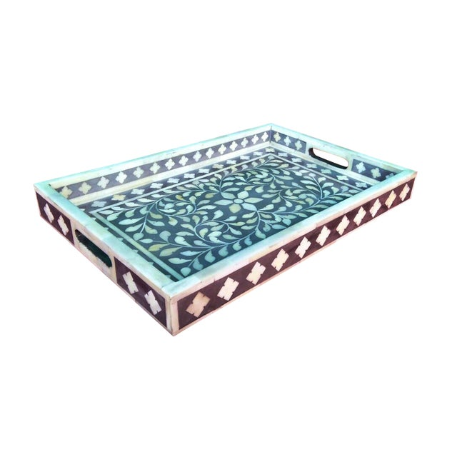 Gray Floral Bone Inlay Serving Tray - Image 1 of 3