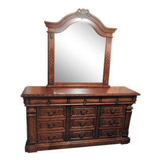 Luxury Large Cherry Dresser With Mirror
