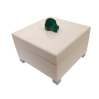 White Lacquered & Malachite Stone Box