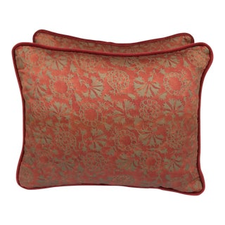 Transitional Rust & Metallic Gold Fortuny Pillows - A Pair