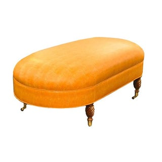 Oval Ottoman with Twist Legs & Brass Casters
