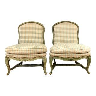 19th Century Antique Italian Slipper Chairs - a Pair