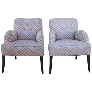 Contemporary Zig-Zag Fabric Armchairs - A Pair