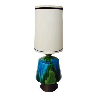 Mid-Century Modern Turquoise Ceramic Table Lamp
