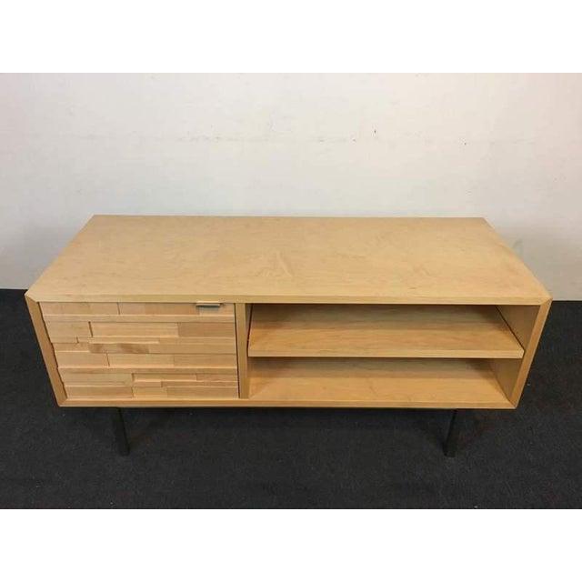 Room & Board Contemporary Laminate Oak & Metal Media Cabinet - Image 3 of 9