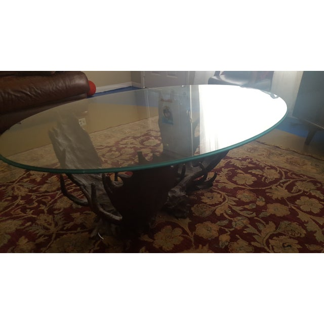 Fighting Moose Antler Coffee Table - Image 6 of 7