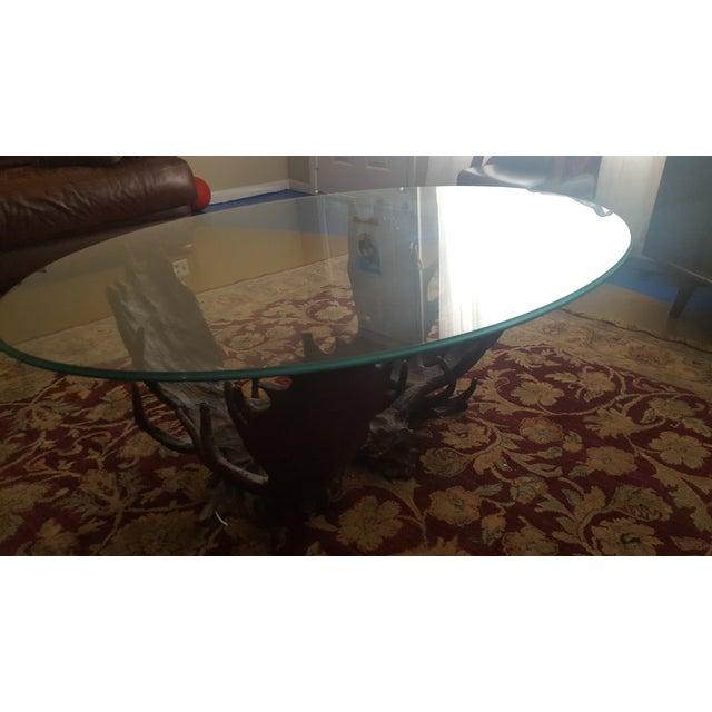 Image of Fighting Moose Antler Coffee Table