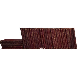 Antique Red Leather Shakespeare Collection - Set of 36