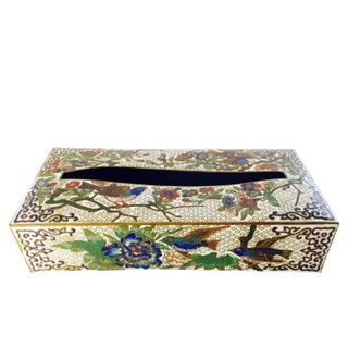 Vintage Cloisonné Style Colored Enamel Tissue Box