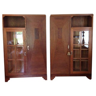 French Arts & Crafts Oak & Macassar Libraries - A Pair