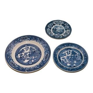 Vintage Blue & White Transferware Plates - Set of 3