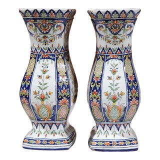 19th Century French Hand Painted Vases - A Pair