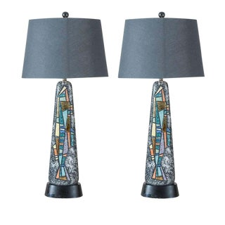 Stunning Pair of Large Scale Abstract Ceramic Lamps